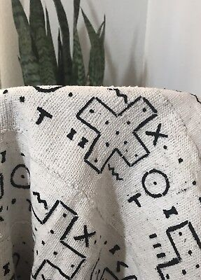 Authentic African Mudcloth Mali Black And White Boho Modern Fabric 59 x 39