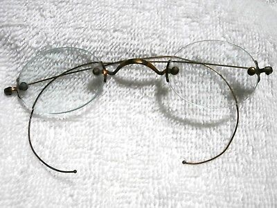 1890's 3 Piece Rimless Reading Glasses With Green Edge Glass!