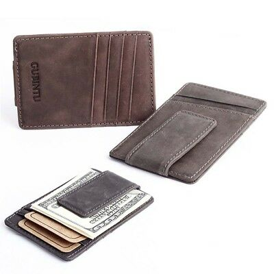 Men Genuine Leather Wallet ID Credit Card Holder Mini Coin Purse Money Clip New