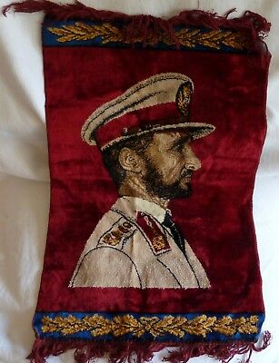 """Rug or Tapestry - Pictorial - Emperor Haile Selassie of Ethiopia about 20"""" x 29"""""""