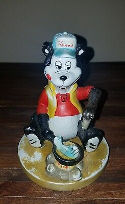 "HAMM'S BEAR STATUE FRYING FISH at CAMPFIRE 5"" RARE HAMMS"