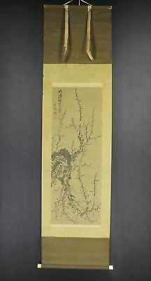"""JAPANESE HANGING SCROLL ART Painting """"Plum blossoms"""" Asian antique  #E7547"""