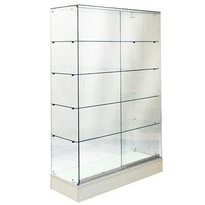 #sagw4W 6'tall Full Vision All Glass Wallcase Trophy Glass Display Case White