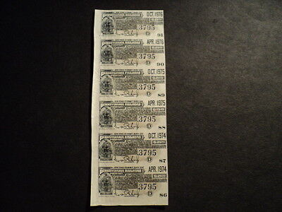 Strip Of 6 Pennsylvania Railroad Coupons