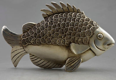 Collectible chinese Old Decorated Handwork Tibet Silver Carved Coin Fish Statue