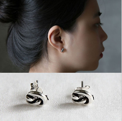 Genuine s925 Sterling Silver Twisted Earring Studs Knot Style Vintage Gifts Cute