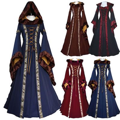 Game of Thrones Halloween Dress Women Gothic Victorian Medieval Hooded Costume