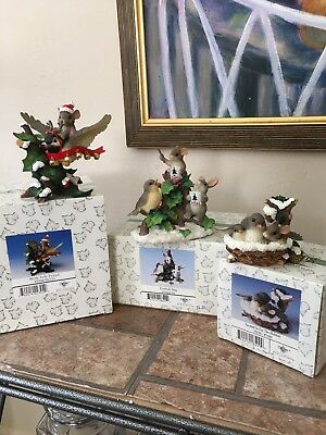 Charming Tails Fitz And Floyd Lot Of 3 Christmas Figurines