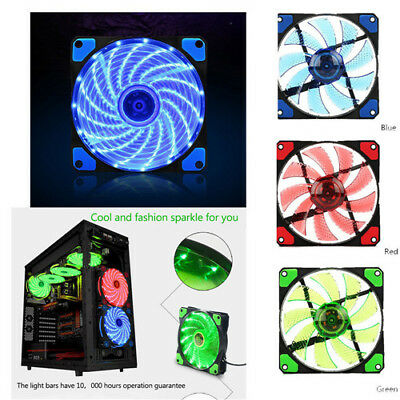 PC Computer Case CPU Cooling Fan 3-4Pin 15LED Light Neon Quite Clear 120mm DC12V