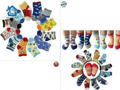 12 Pairs Anti Slip Baby Kids Socks Ankle Toddler Non Skid Soft Cotton Assorted