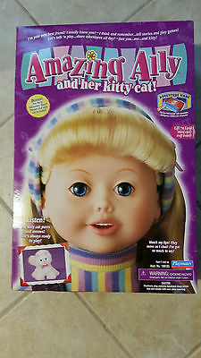 NEW 2001 Playmates Amazing Ally and Her Kitty Cat, Interactive Doll, Accessories