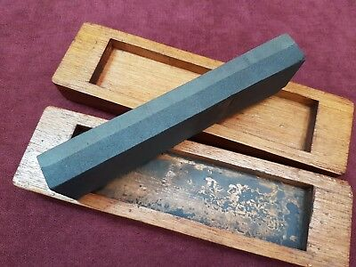 Old Knife Tool Sharpening Stone In Wood Box