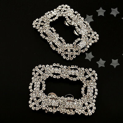 2x Square Crystal Rhinestone Shoe Clips Buckle For Wedding Bridal Party Decor
