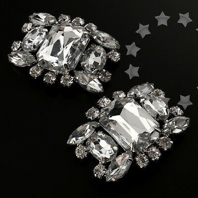 2x Big Diamond Crystal Rhinestone Shoe Clips Buckle Wedding Bridal Party Decor