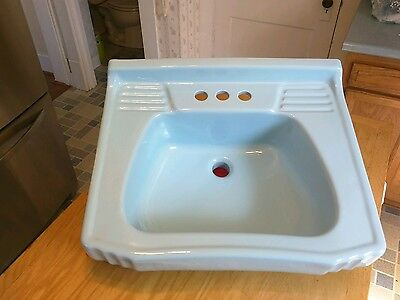 Antique Vtg Homart 20 Baby Blue Bathroom Sink  1950s Great Condition
