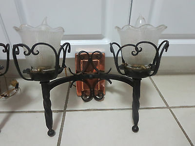 Pair  Antique Spanish  Wrought Iron Two-Light Wall Sconces