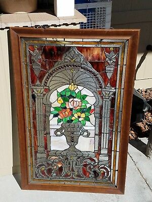 Vintage Beautiful Stained Glass Window With Jewels Framed
