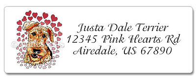 Airedale Terrier Pink Hearts Dale Address Labels set of 60 WATERPROOF