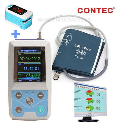 ABPM50 Ambulatory Blood Pressure Monitor 24 hours recorder NIBP Oximeter + PC SW