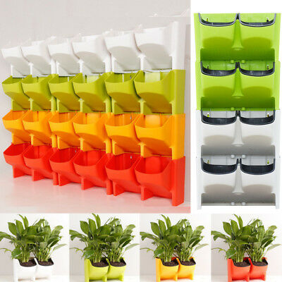 Self Watering 2-Pocket Stackable Vertical Garden Wall Hanging Planter Flower Pot