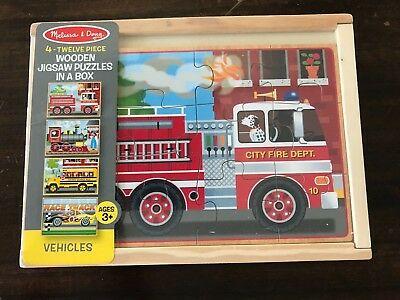 Melissa & Doug - 4 x 12 piece Wooden Jigsaw Puzzles in a box - Vehicles