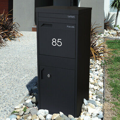 Black PARCEL A4 SECURE Dropbox Mail Letterbox MAILBOX Post Parcel Pier Pillar