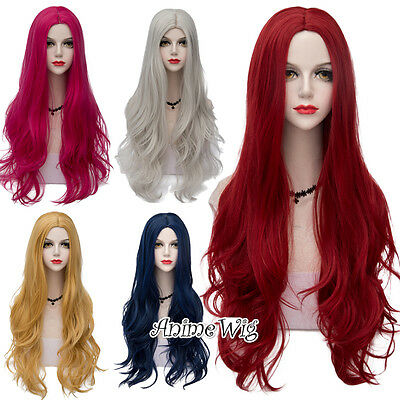 80CM Long Wavy Hair Centre Parting Basic Casual Style Cosplay Synthetic Full Wig