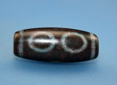 29*12 mm Antique  Dzi  Agate old 3 eyes cinnabar Bead  from Tibet Free shipping