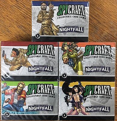 Set of 5 SEALED SPYCRAFT CCG Operation Nightfall 84 Card Agency Decks by AEG NEW