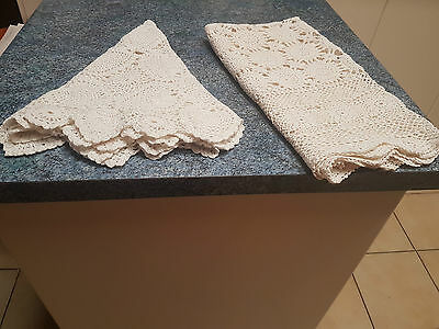 2 x Vintage Handmade Cream Small Crochet Tablecloths