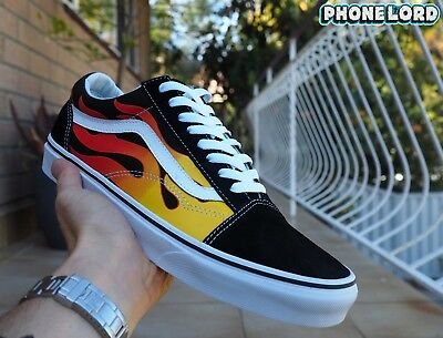 Genuine Vans old skool school Black/Flame white revenge storm US 7 8 9 10 11 12