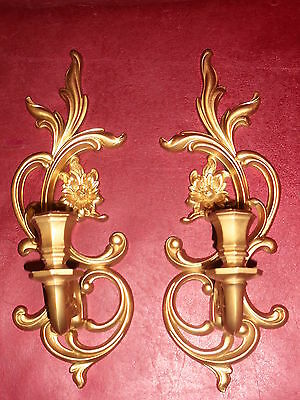 Vtg Syroco Hollywood regency MCM art nouveau gold floral wall sconce #3933 USA
