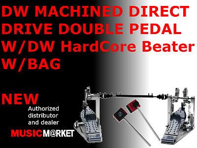 DW MACHINED DIRECT DRIVE DOUBLE PEDAL W/DW HardCore Beater W/BAG MADE IN USA NEW
