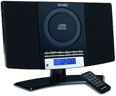Stereo Music Compact System Player LCD CD FM Radio Alarm Aux In Home Wall Mount