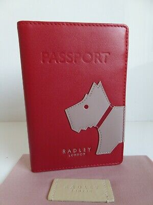 Radley Mono Dog Leather Passport Cover BNWT RRP £39 With Dust Bag