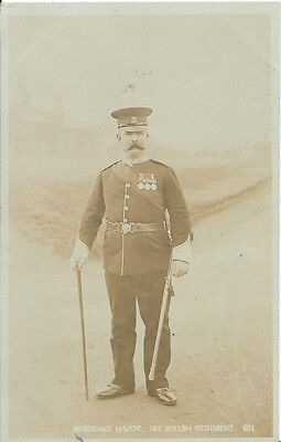 Military, 1St. Welsh Regiment, Unknown Sergeant Major, Sepia Photo Postcard