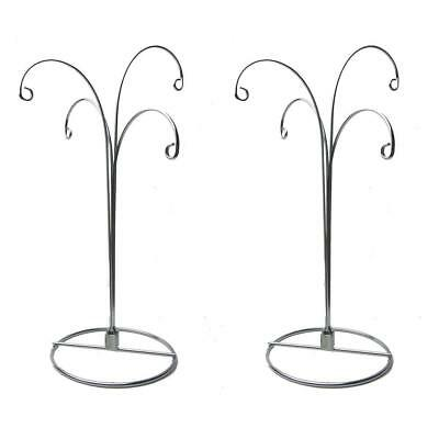 Curved /& Twisted Silver Tone Metal Ornament Stand 9.5 Inches