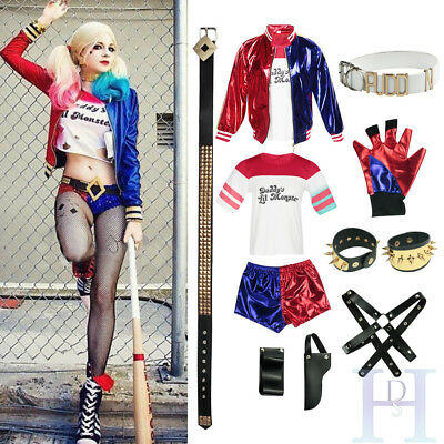 New Adult Cosplay Harley Quinn Ladies Costume FULL Set Halloween Suicide Squad