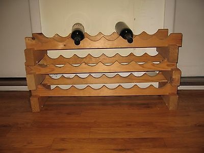 Wooden Pine Wine Rack Cellar Timber 24 bottles Storage  USED