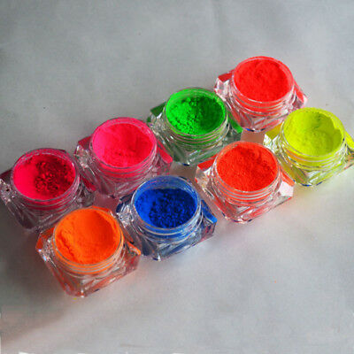 8Colors Neon Phosphor Nail Art Pigment Powder Glitter Dust Manicure Tips