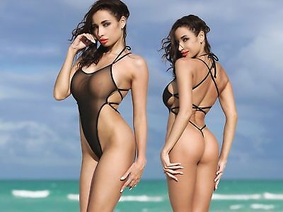 3257b5c78e TS Exotic Black One Piece Swimsuit Extreme Thong Open Back Monokini  Transparent