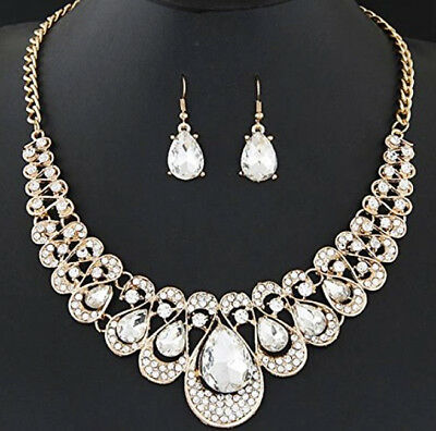 TreasureBay Costume Jewellery Crystal Chunky Statement Necklace and Earrings Set