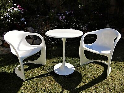 Vintage Retro midcentury white patio setting Casala chairs and Tulip Table