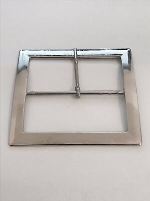 Very Large Solid Cast Silver Chrome Metal Vintage Belt Buckle Jeans Buckles 80Mm