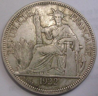 1922 French Indo China Piastre 1.15 million total mintage. Most lost to war.