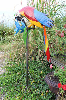 """51"""" Recycled Metal Parrot on Stand Bird Yard Art Lawn Decor"""