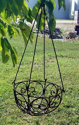 "13"" Wrought Iron Sm Curly Hanging Basket - Metal Garden Flower Planter 2 Sizes"