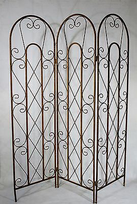 """Wrought Iron Cross Curl Tri Panel Screen for the Home and Garden - 74"""" Metal"""