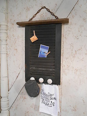 Black Memo Board Hat Rack - Repurposed Ceiling Tin & Vintage Shutter