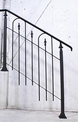 Custom Handmade Rustic Wrought Iron 2 Step Stair Railing to Fit - BALUSTER